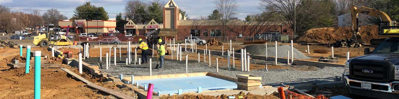 Sitework at a shopping center in Manassas, Virginia