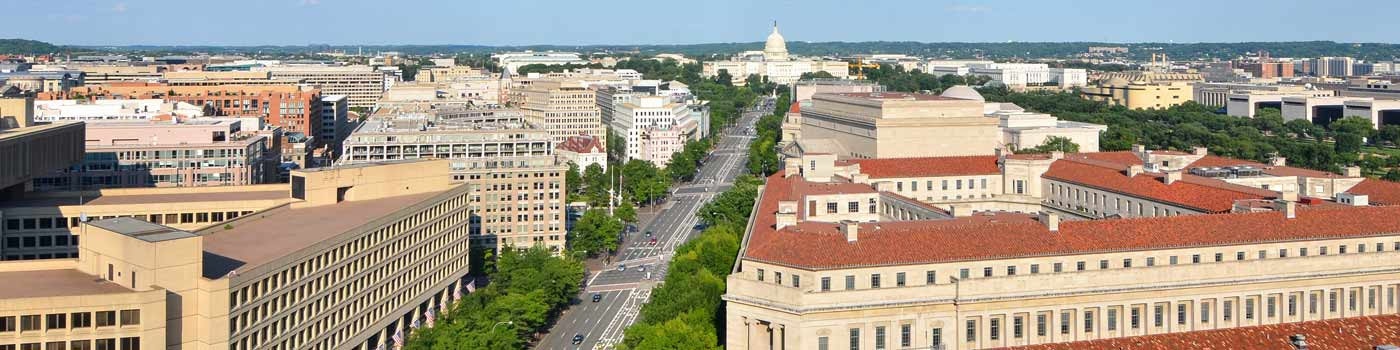 aerial image of downtown DC Federal buildings looking toward the Capitol